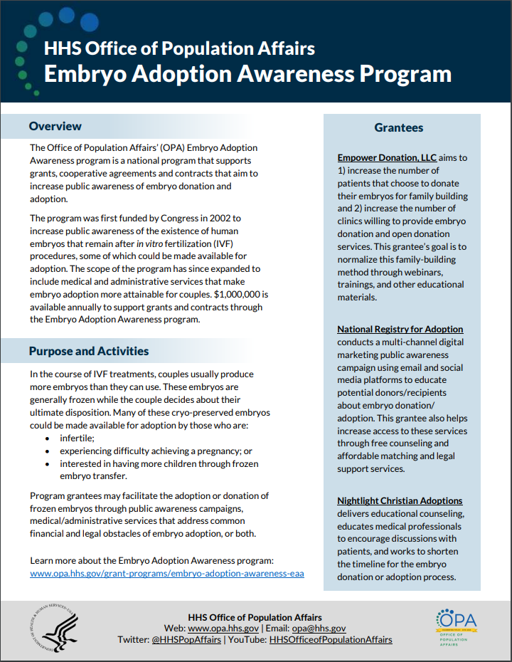 First page of Embryo Adoption Awareness program one-pager.