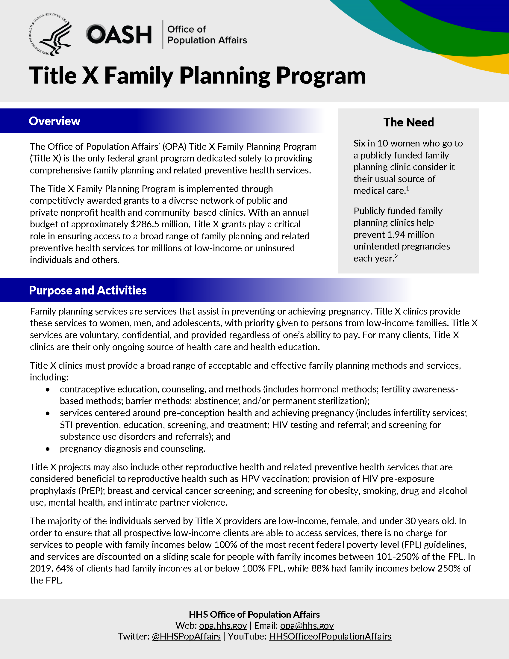 First page of Title X family planning program one-pager.